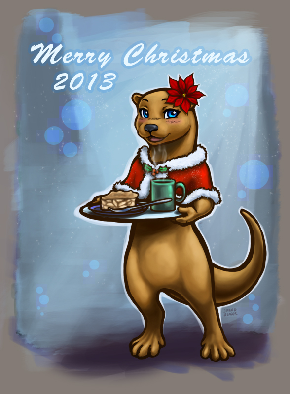 Christmas Otter by AokiBengal