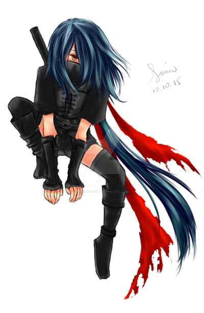 Anime Ninja Girl With Black Hair And Red Eyes