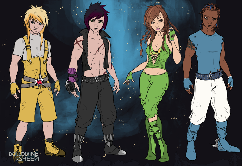 My O.C.s Aaron, Iggy, Anya and Tyron by RebelScumWoman77