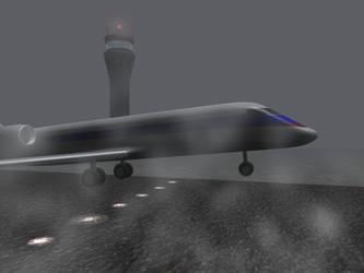 CRJ Fog Landing by 3dben