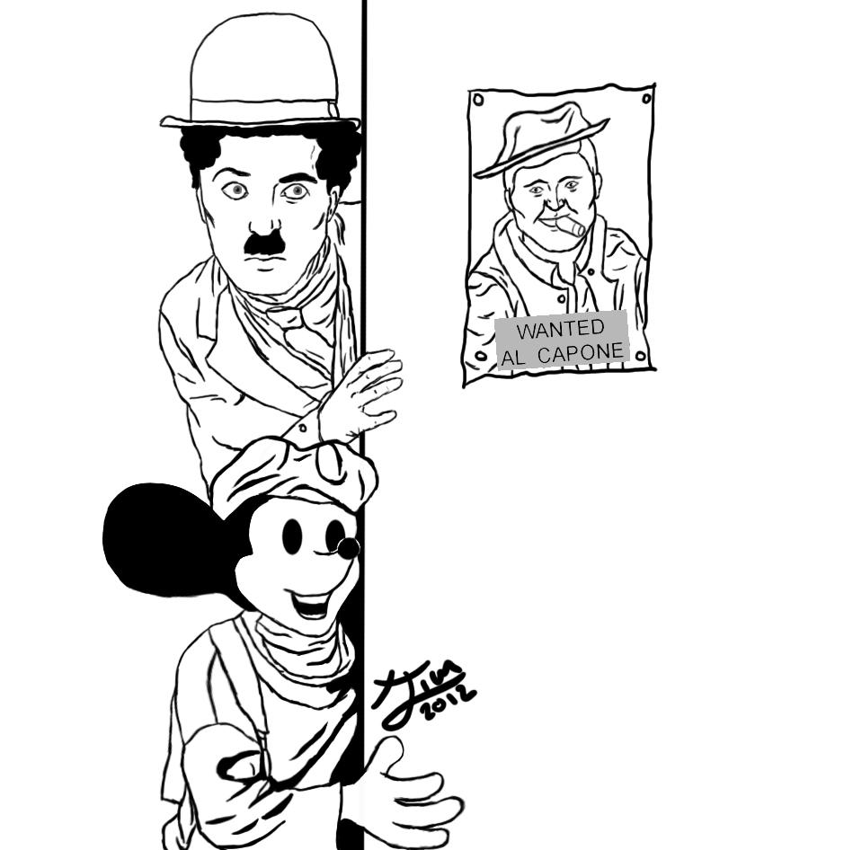 Charles Chaplin And Mickey 1920s