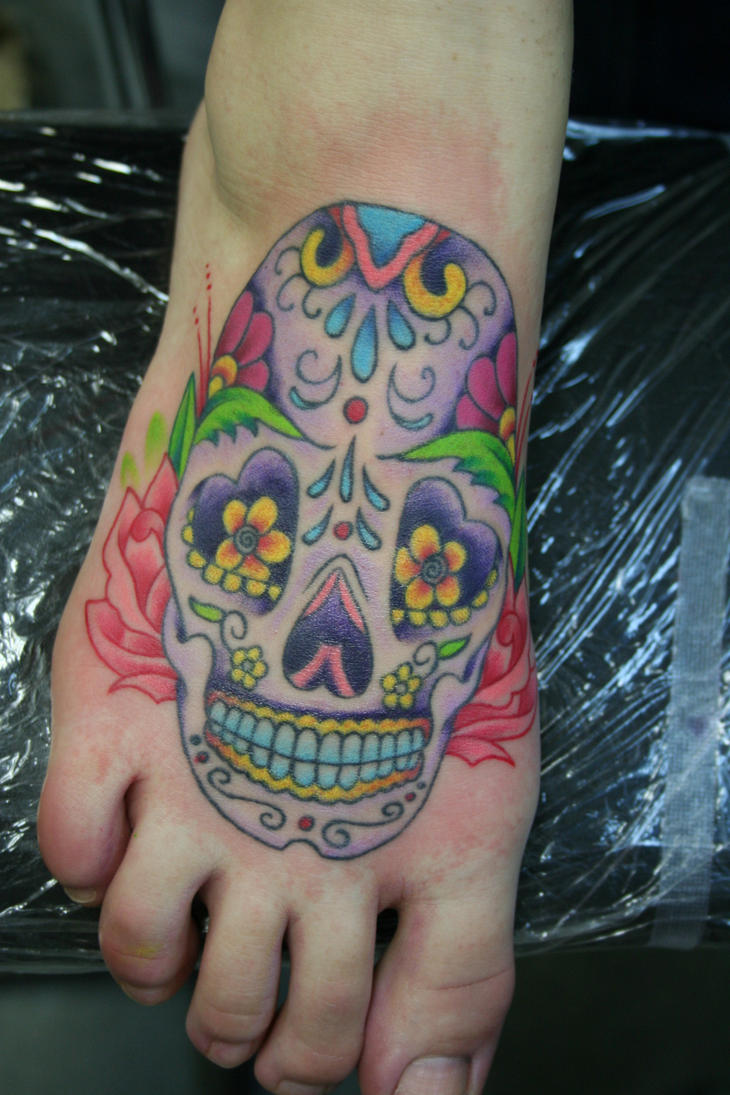 Mexican Sugar Skull Tattoo On Foot Picture 1