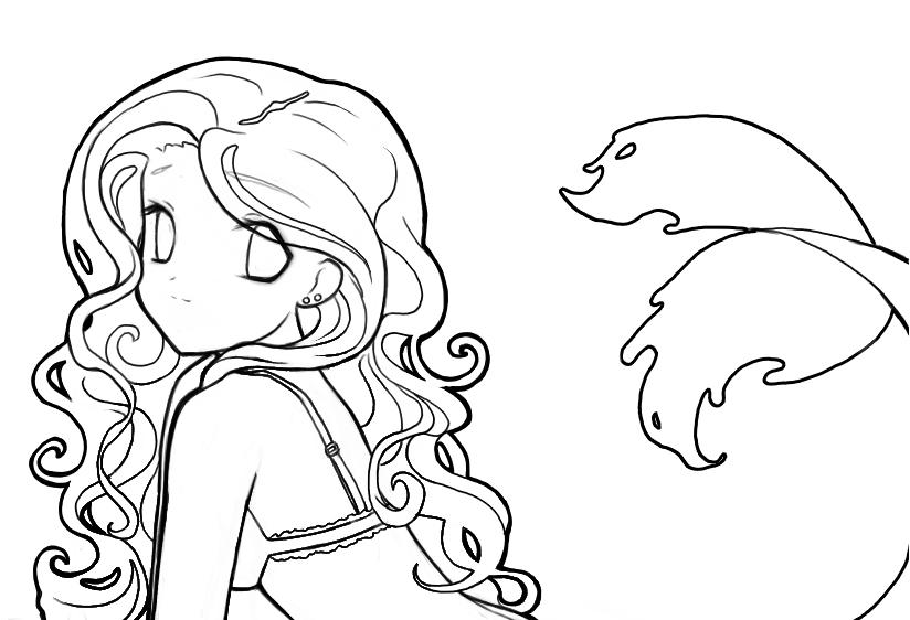Line Drawing Mermaid : Mermaid lineart by destinyblue on deviantart