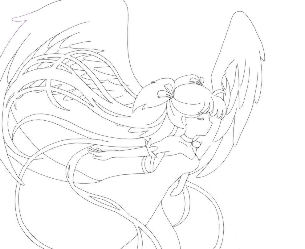 Line Art Angel : Angel lineart by destinyblue on deviantart