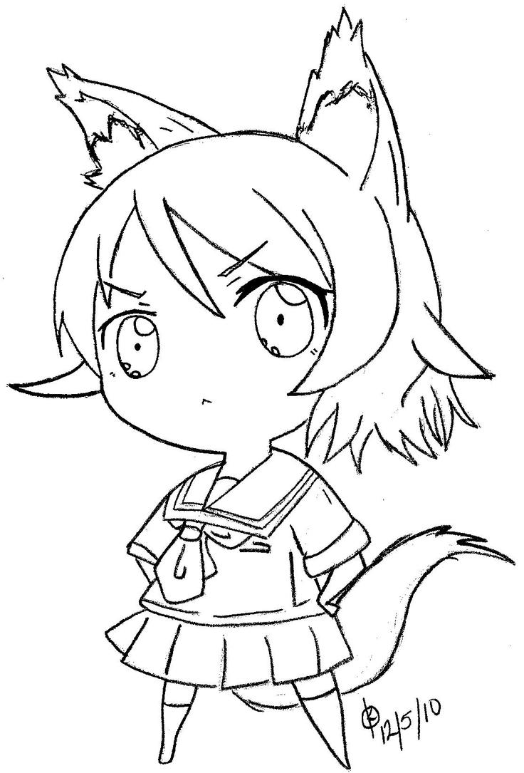 This is a picture of Universal Anime Wolf Girl Coloring Pages