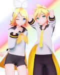 [DL] YYB Styled Edit Reverse Rainbow Len and Rin by maydayfireball