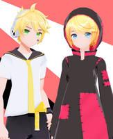 [DL] YYB Styled Strange Dark Len and Scissors Rin by maydayfireball