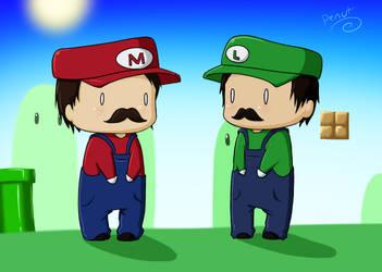Super Mario Chibis by penutbutterbiscuit