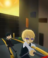 Izaya and Shizuo by penutbutterbiscuit
