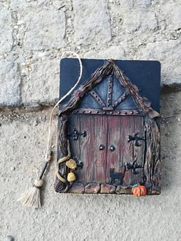 Halloween blank journal / fairy - witch door