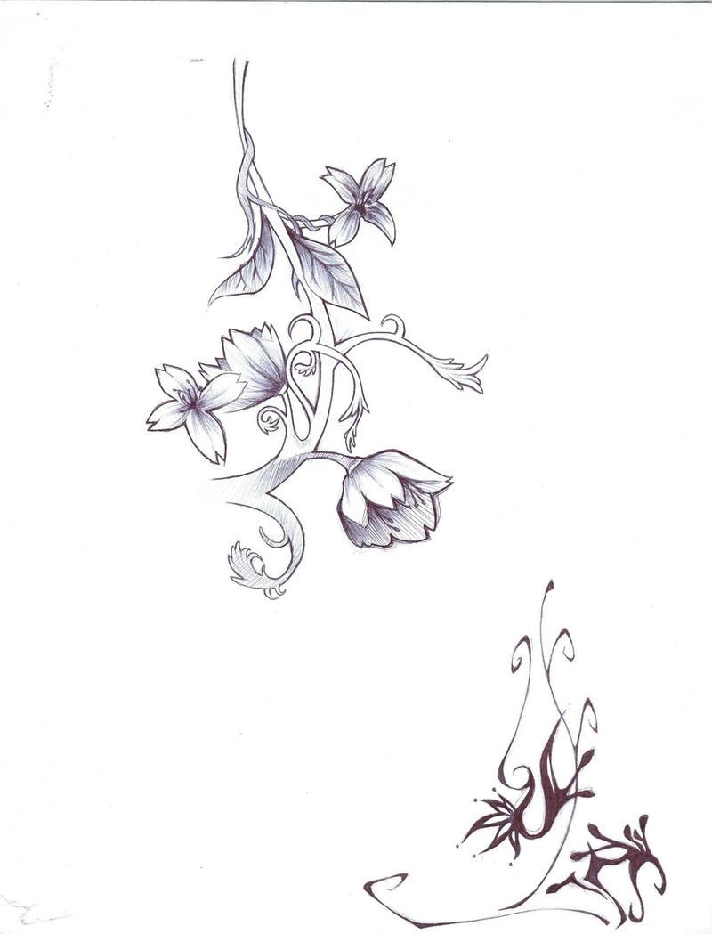 Flower vine sketch by tmt89 on deviantart for Flower vine tattoo images