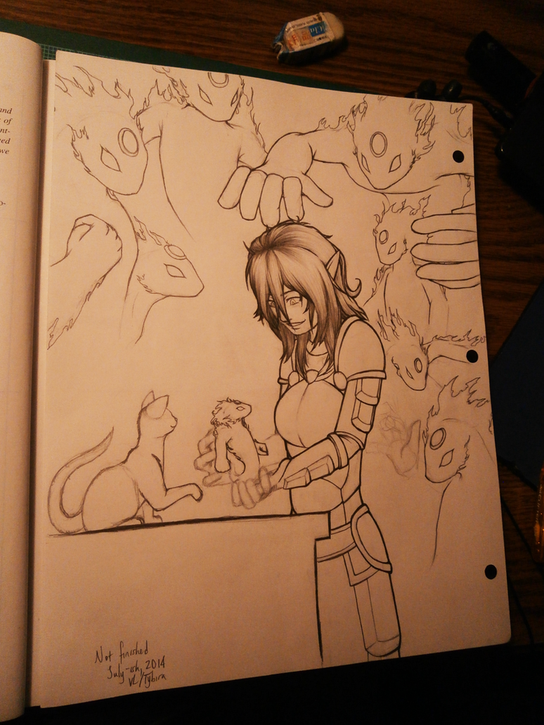 Taini with Elementals and a Cat (WIP) by Tybira