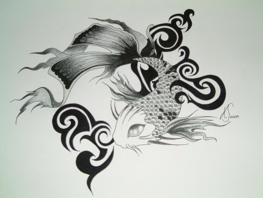 goldfish tattoo design. koi carp tattoo designs.