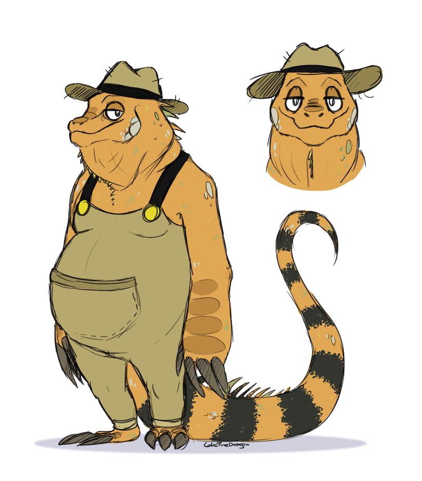 Bartolomeu: Fat Iguana Farmer OC Reference Sheet by Jaysyon