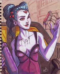 Sketchbook page #6 - Widowmaker by oGuttermoutho