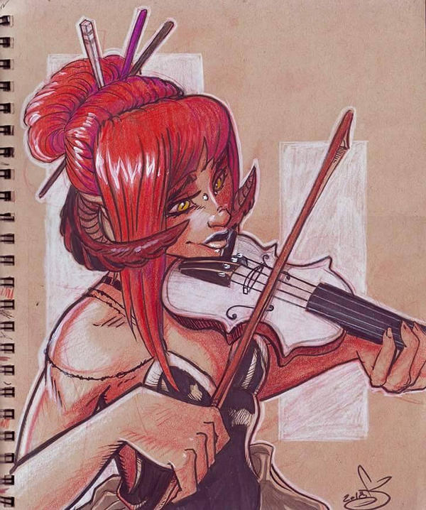 Sketchbook page 8: Violins by oGuttermoutho
