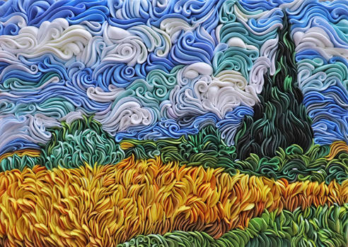 Van Gogh's Wheat field with Cypresses
