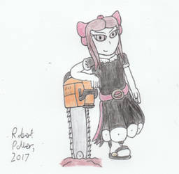 Cloe with Giant Chainsaw by Guitarrob