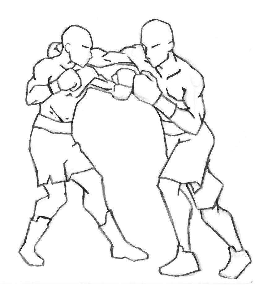 Boxing fight drawings