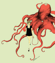 girl walking octopus
