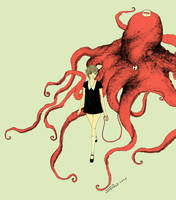 girl walking octopus by somefield