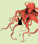 girl walking octopus