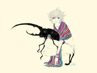 girl and hercules beetle v2