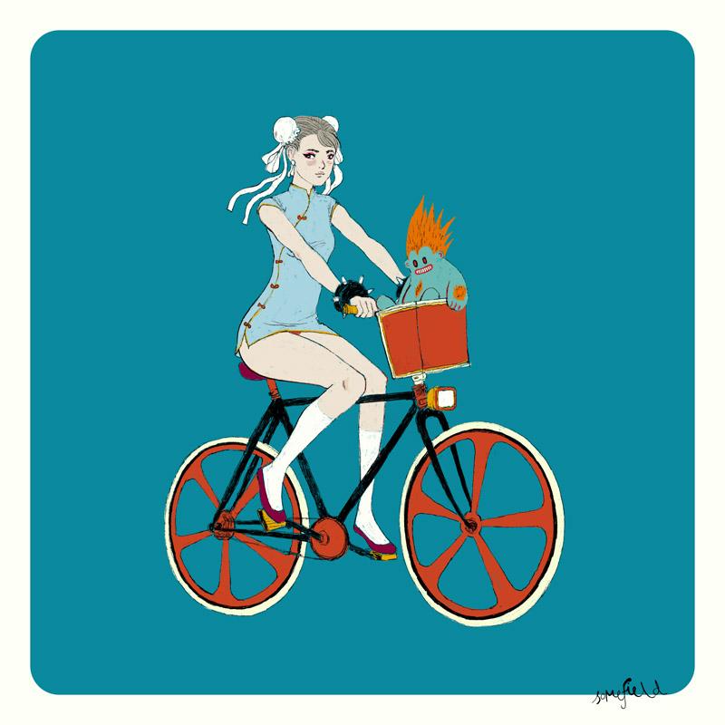 Chun-Li rides her Rad Bike with a Sweet Blanka Toy by somefield