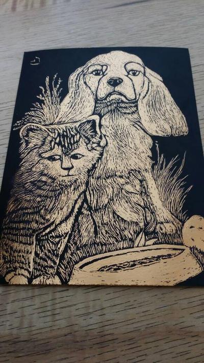 cat and dog scratch art by highkickfan