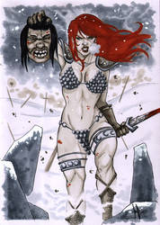 Red Sonja and lost head by Miclix0458