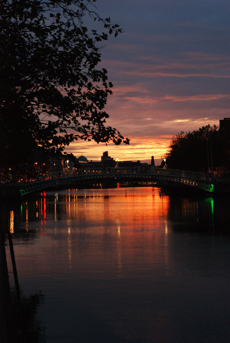 Ha' Penny bridge sunset by RickMunish