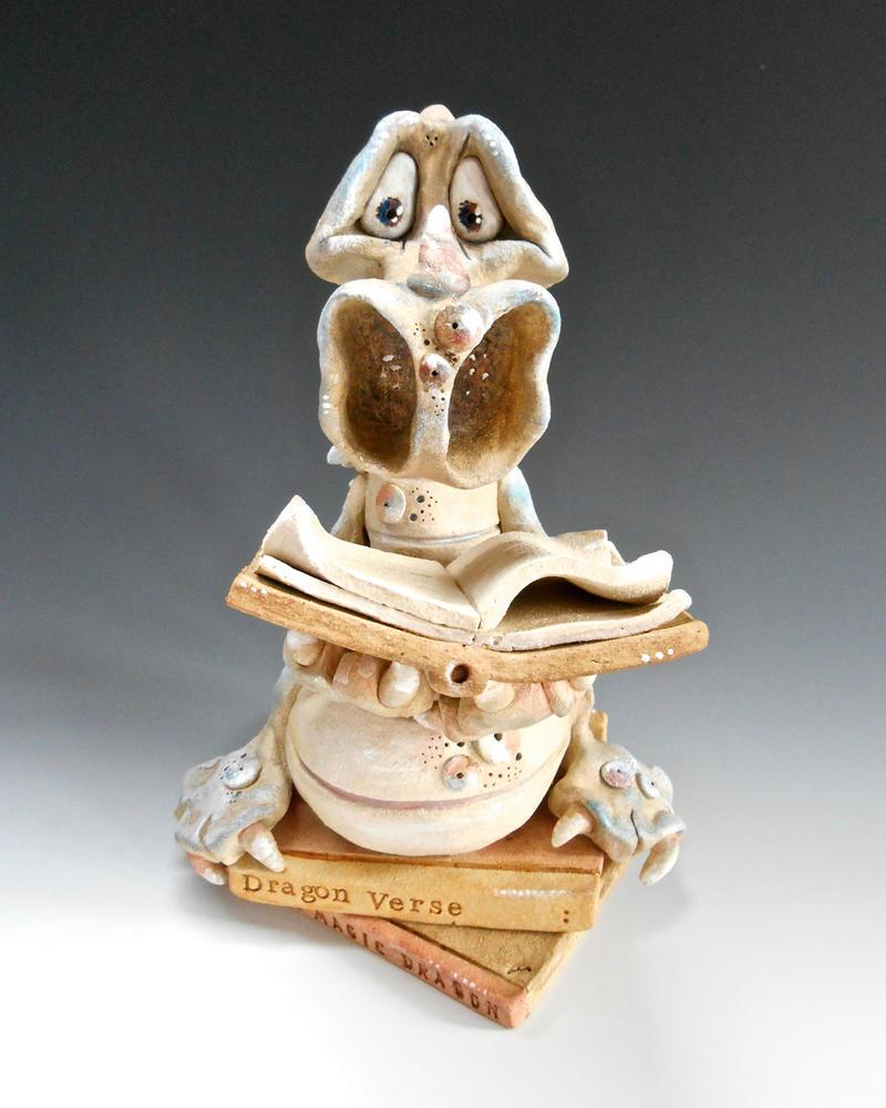 Ceramic Sculpture - Dragon Hemmingway by Lucykite