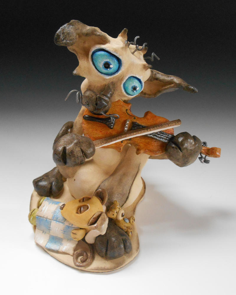 The Cat and the Fiddle Ceramic Sculpture by Lucykite