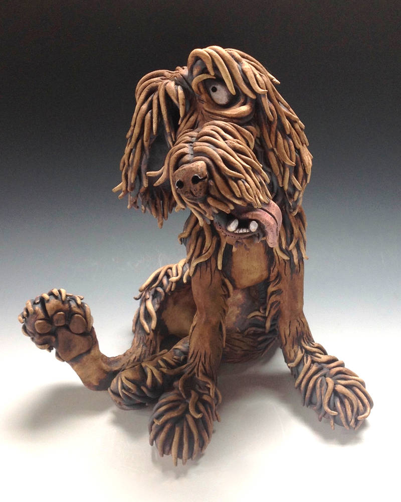 Watson the Dog Ceramic Sculpture