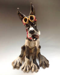Great Dane Sculpture - Ceramic 'Hoover' by Lucykite