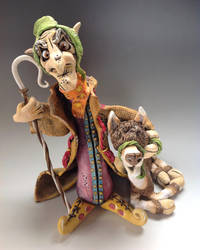 Persian Llama Farmer Sculpture, Amooz and Spitball by Lucykite