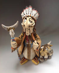 American Indian Chief Ceramic Sculpture