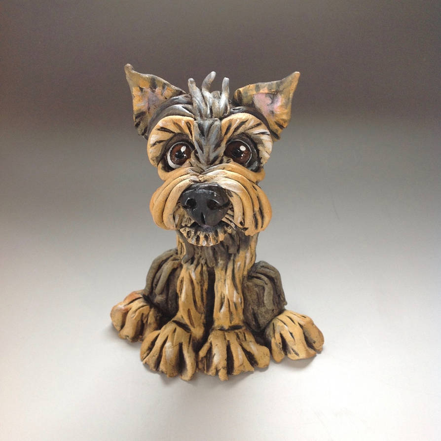 Yorkshire terrier sculpture ceramic by Lucykite