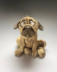Pug Dog Sculpture Ceramic