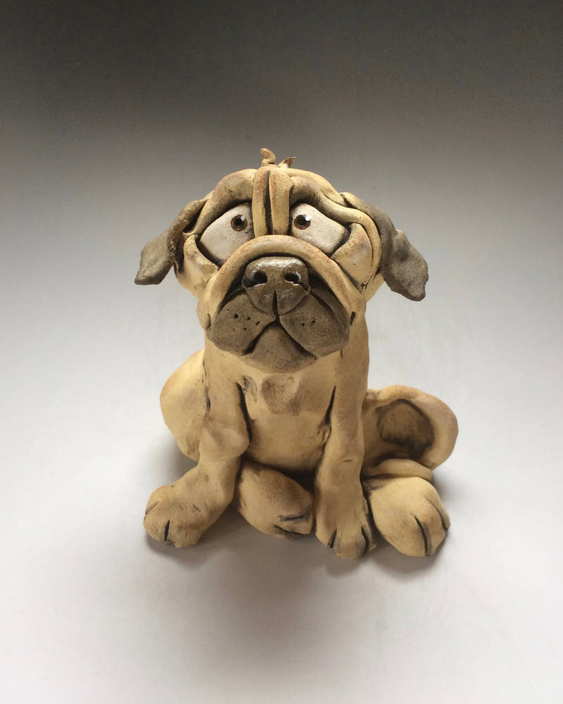 Pug Dog Sculpture Ceramic by Lucykite