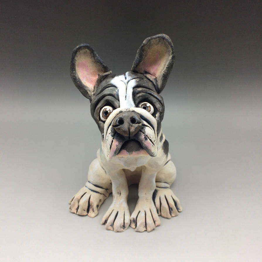 French Bulldog Sculpture, Ceramic by Lucykite