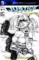 Harley Quinn Suicide Squad Sketch Cover BW by Danielleister