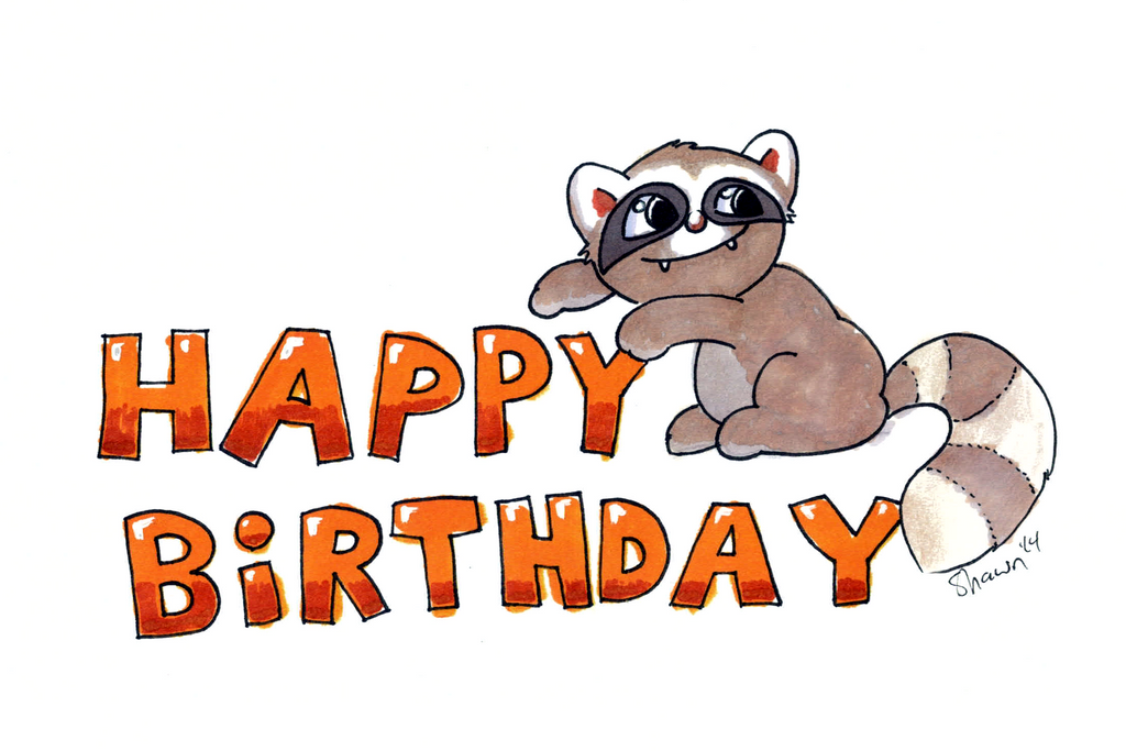 Birthday Raccoon 2014 by masonmouse