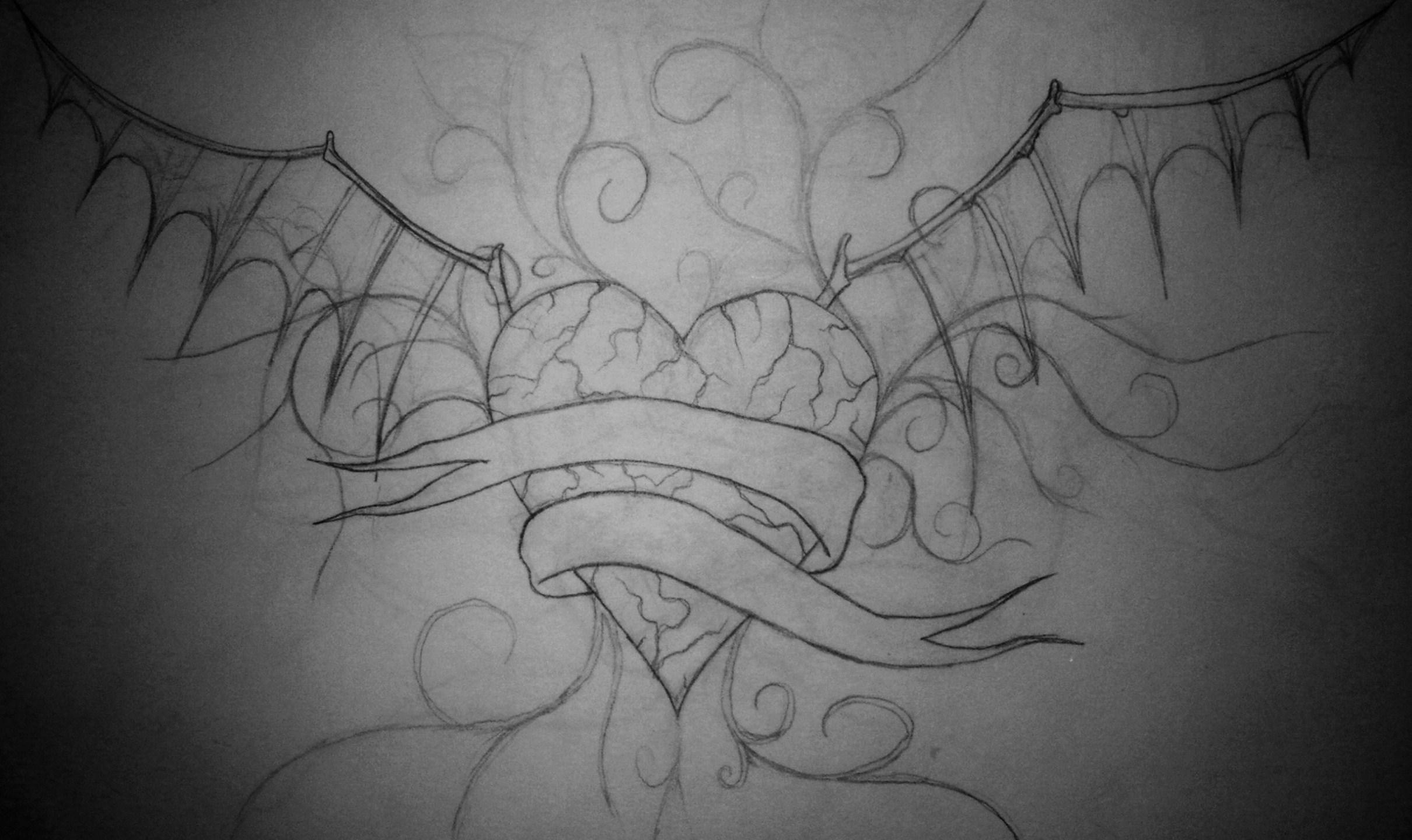 Heart Tattoo Bat Wings by Weenerman