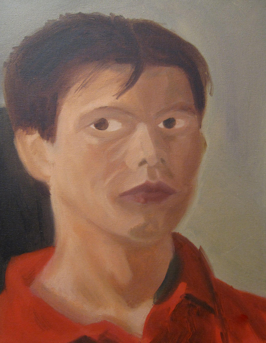self portrait wip oil by kartoonist