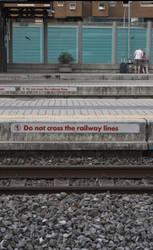 Do not cross the railway lines