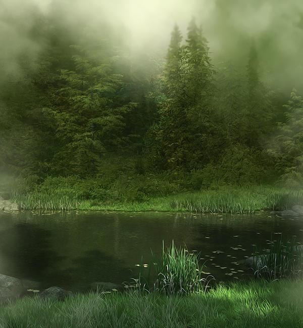 Misty River background by moonchild-lj-stock