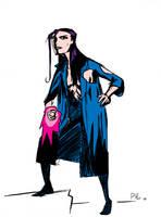 Psylocke cosplaying Hellboy by Phostex