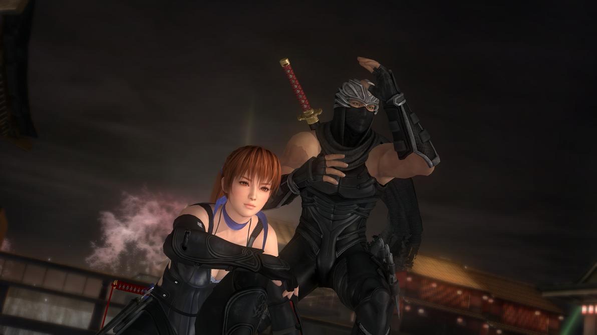 Kasumi and Ryu Hayabusa - black ninja costumes (1) by asamiya-kof on