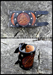 Valknut Leather Cuff by Huldukottr